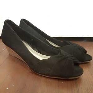 Seychelles Cork Wedges Black Fabric